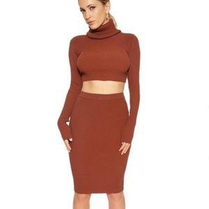 Naked wardrobe turtleneck skirt set